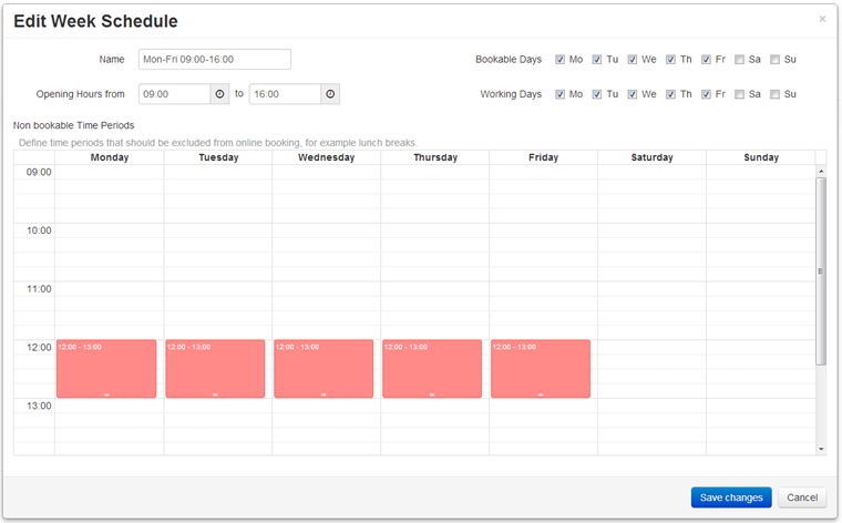 to edit a week schedule simply click on the applicable row in the list to create a new week schedule click the create new week schedule button and the